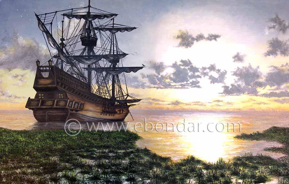 Galleon at Rest - Oil-on-Canvas by Elena Bondar
